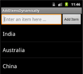 Adding items dynamically to listview