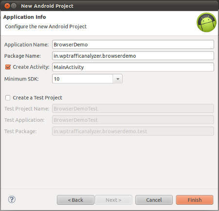 Enter application details
