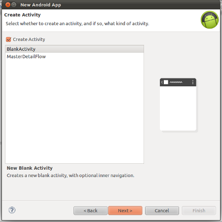Create a blank activity to define MainActivity class