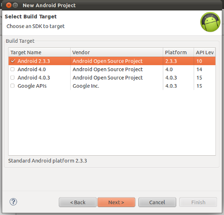 Select Android build target