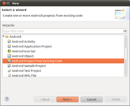 Create Android Project From Existing Code