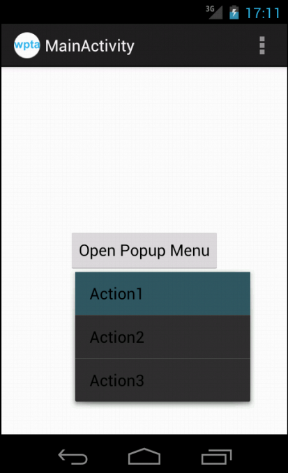 Popup menu is displayed on button click