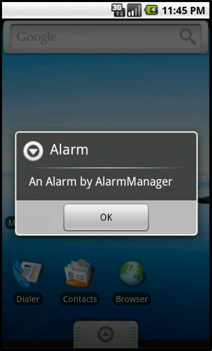Opening the AlertDialog window when the alarm goes off