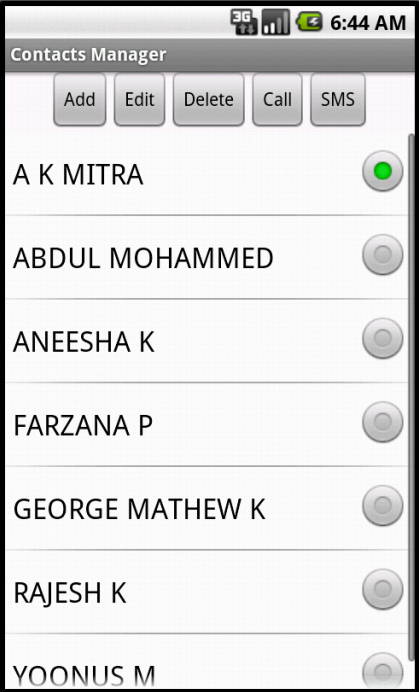 List of Contacts