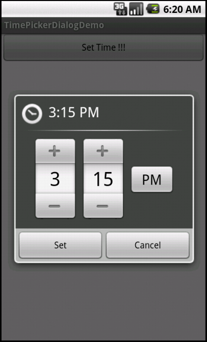 Time Picker Dialog in execution