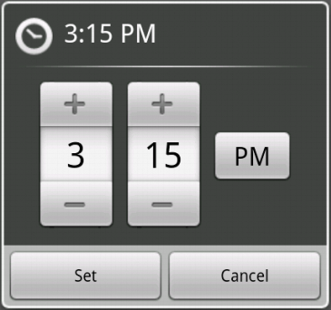 TimePicker dialog with DialogFragment - Demo
