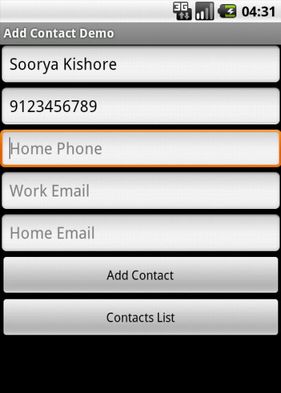 Entering new Contact Details