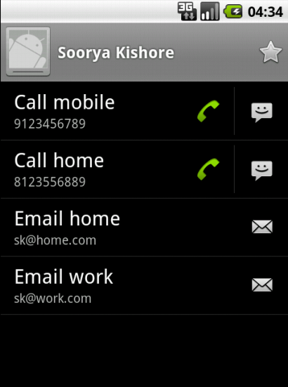 Viewing the above added contact in Android's Contact Manager