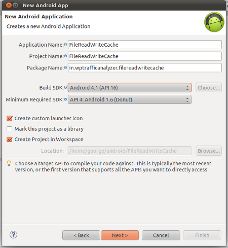 create a new android application project