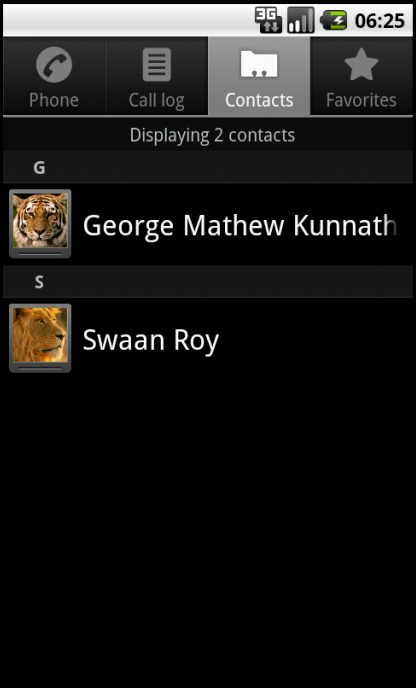 Contacts list in the Android's Contact Manager
