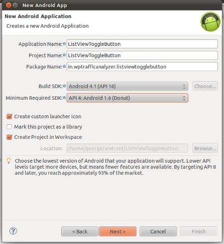 Create new Android Application Project
