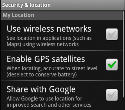 Enabling GPS in the Device