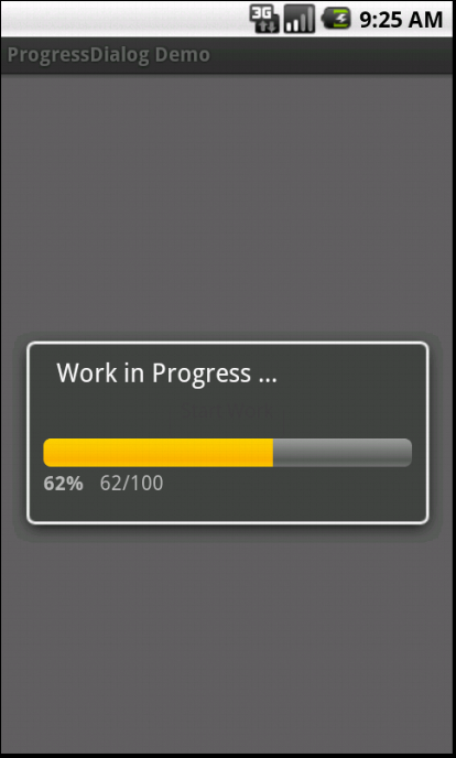 Showing ProgressDialog while a work in progress ( background