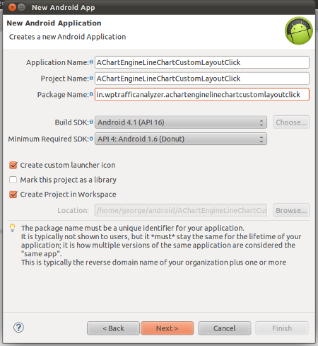 "Create a new Android application project ""AChartEngineLineChartCustomLayoutClick"""