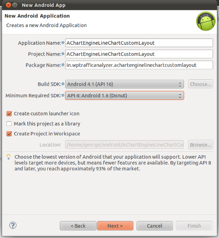 "Create a new Android Application project namely ""AChartEngineCustomLayout"""