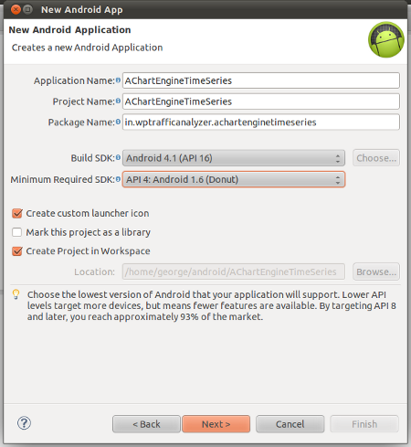 "Create a new Android Application project namely ""AChartEngineTimeSeries"""
