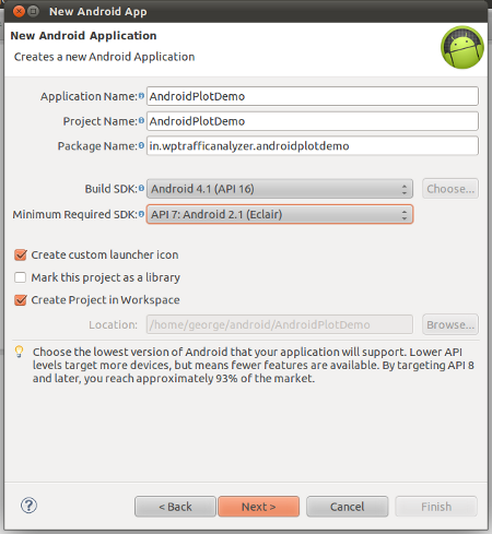"Create a new Android application project namely ""AndroidPlotDemo"""