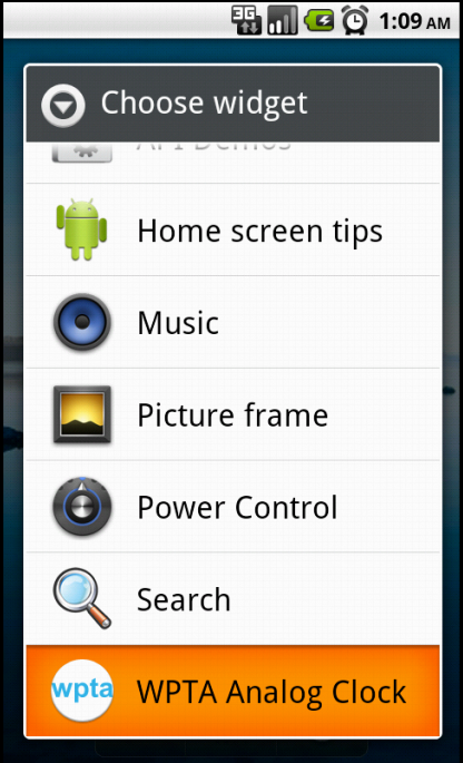 how to add alarm to home screen android