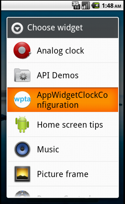 Choosing the Widget