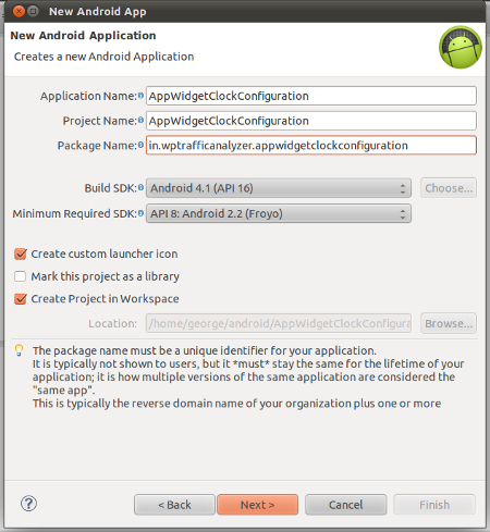 "Create a new Android application project namely ""AppWidgetClockConfiguration"""