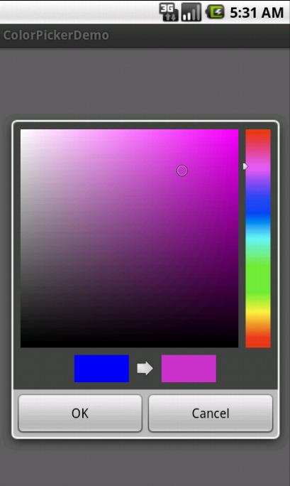 "Color Picker Dialog is opened on Clicking the ""Select a color"" button"