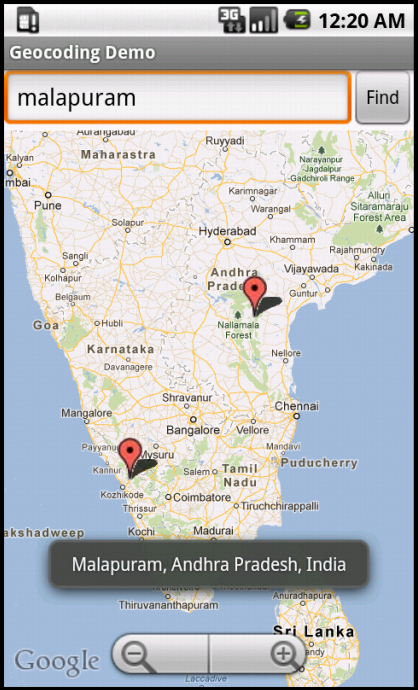 Displaying the locations returned from Geocoding Web Service in Google APIs Emulator ( API Level 4 )