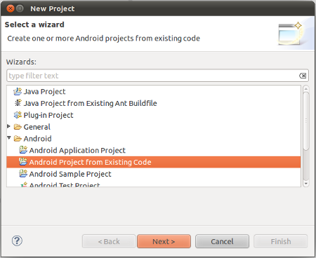 Create an Android Project from existing code