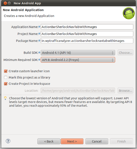 Creating a new Android application project