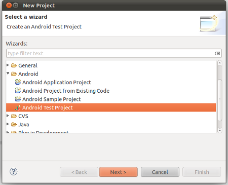 Create an Android Test Project namely HelloWorldTest