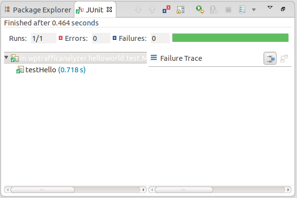 Test result can be viewed in JUnit pane
