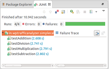 Showing Test results in JUnit Pane