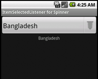 ItemSelectedListener for Android Spinner Widget – Example