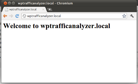 Displaying the home page of wptrafficanalyzer.local in a web browser