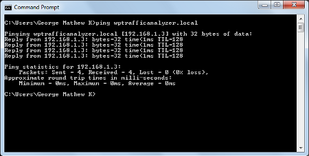 Testing wptrafficanalyzer.local by ping in Windows 7