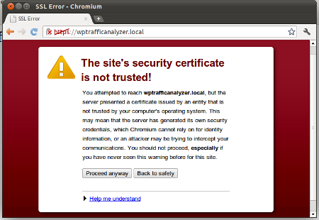 Showing Warning Message in Chrome browser
