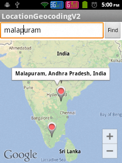Showing Street Address in Google Map Android API V2