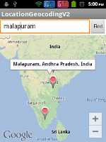 Android Geocoding - Showing user input location in Google Maps