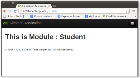 Showing Student Module's default Page