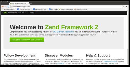 Screenshot of the Zend Framework2 Skeleton Application