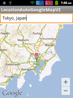 Showing the selected place in Google Map Android API V2