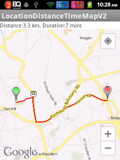 Showing Drving distance and time between two locations in Google Map Android API V2