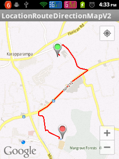 Showing route between two locations in Google Map Android API V2