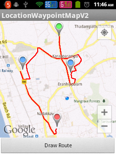 Route between two locations with waypoints in Google Map Android API V2