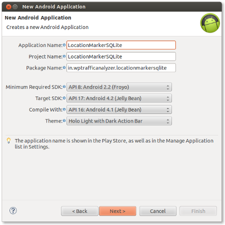 Create an Android application project