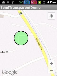 Showing Semi Transparent Circle in Google Map Android API V2
