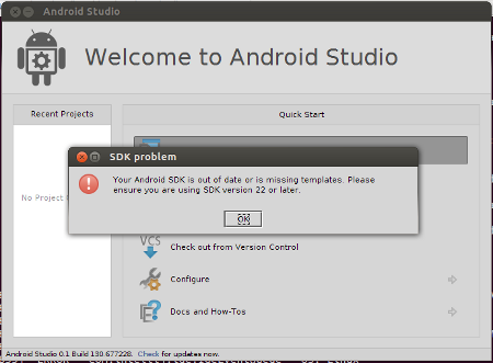 Error : Your Android SDK is out of date
