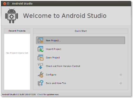 "Select ""New Project"" from Welcome dialog window"
