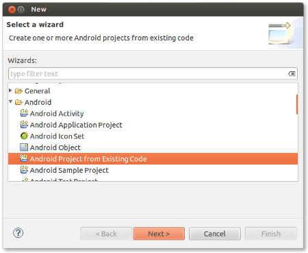 Create a new Android project from existing code