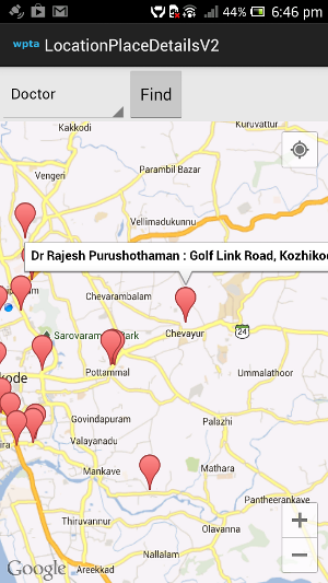 Showing nearby doctors of the current location