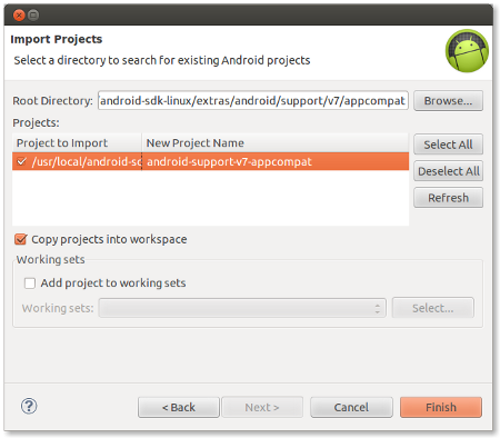 Android – Setting up ActionBarCompat support library in Eclipse